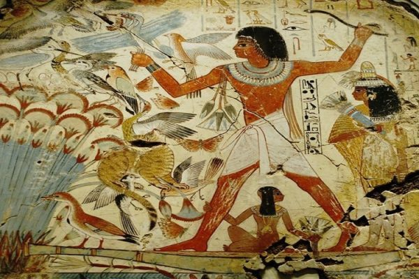 Mural from the wall of the tomb-chapel of Nebamun near Thebes Egypt dates to around 1350 – 1400 BC